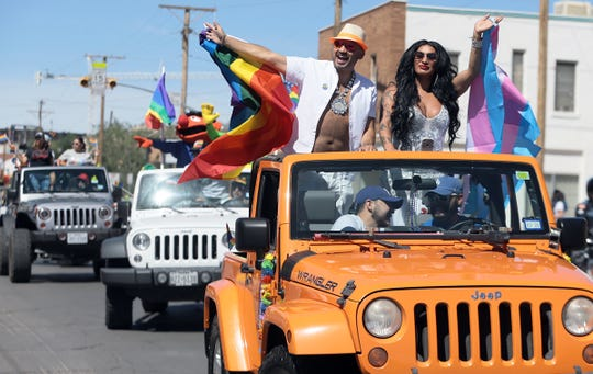 Thousands of El Pasoans lined the streets of Downtown as the Pride Parade kicked off Pride Fest on Saturday, June 22, 2019. The parade was followed by a brunch and a festival in Downtown El Paso.