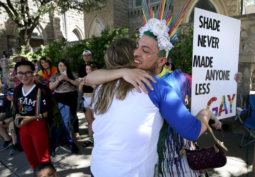 One float gave out free hugs to spectators at the Pride Parade in Downtown El Paso on Saturday, June 22, 2019.