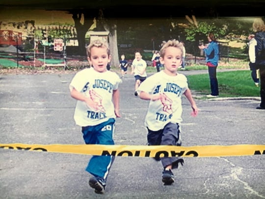 Four year-olds Matt and Alex Rizzo, race toward the finish line during a Saturday morning Catholic Schools races, that St. JosephÕs school participated in at Tibbetts Brook Park in Yonkers, circa 2004.