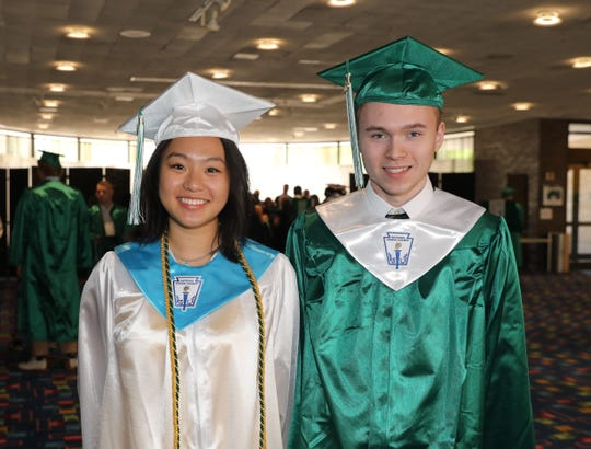 Valedictorian Diane Yang and Salutatorian Kevin Fink are pictured as Yorktown High School held their graduation at the Performing Arts Center at Purchase College in Purchase, June 22, 2019.