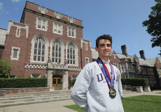 Alex Rizzo, pictured, and his twin brother Matt Rizzo from Bronxville High School, are the Westchester/Putnam boys track & field athletes of the year.  Here, Alex is pictured in front of the school, June 22, 2019.