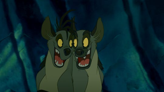 "The hyenas of ""Lion King"" included Shenzi (left, voiced by Whoopi Goldberg) and Ed (Jim Cummings)."