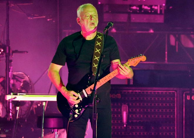 Musician David Gilmour performs in the ancient roman amphitheater of the Pompeii archeological site in Italy on July 7, 2016.