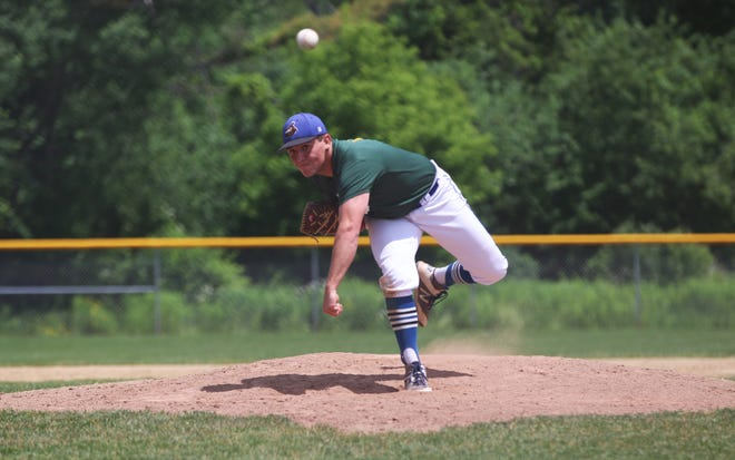 Otter Valley's Josh Beayon delivers a pitch during the Twin State Baseball Classic on Saturday.