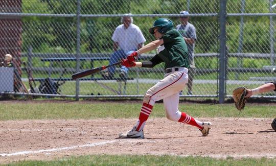 CVU's Tyler Skaflestad singles during the 2019 Twin State Baseball Classic on Saturday.