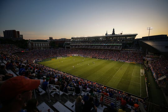 An overall view of Nippert Stadium in the second half of an MLS soccer game between Los Angeles Galaxy and FC Cincinnati, Saturday, June 22, 2019, in Cincinnati. Los Angeles Galaxy won 2-0.