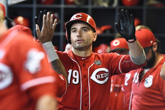 Cincinnati Reds first baseman Joey Votto (19) celebrates with teammates in the dugout after hitting a three run home run in the sixth inning against the Milwaukee Brewers at Miller Park.