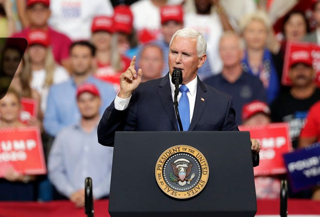 Vice President Mike Pence speaks to supporters at a rally where President Donald Trump formally announced his 2020 re-election bid Tuesday, June 18, 2019, in Orlando, Fla.