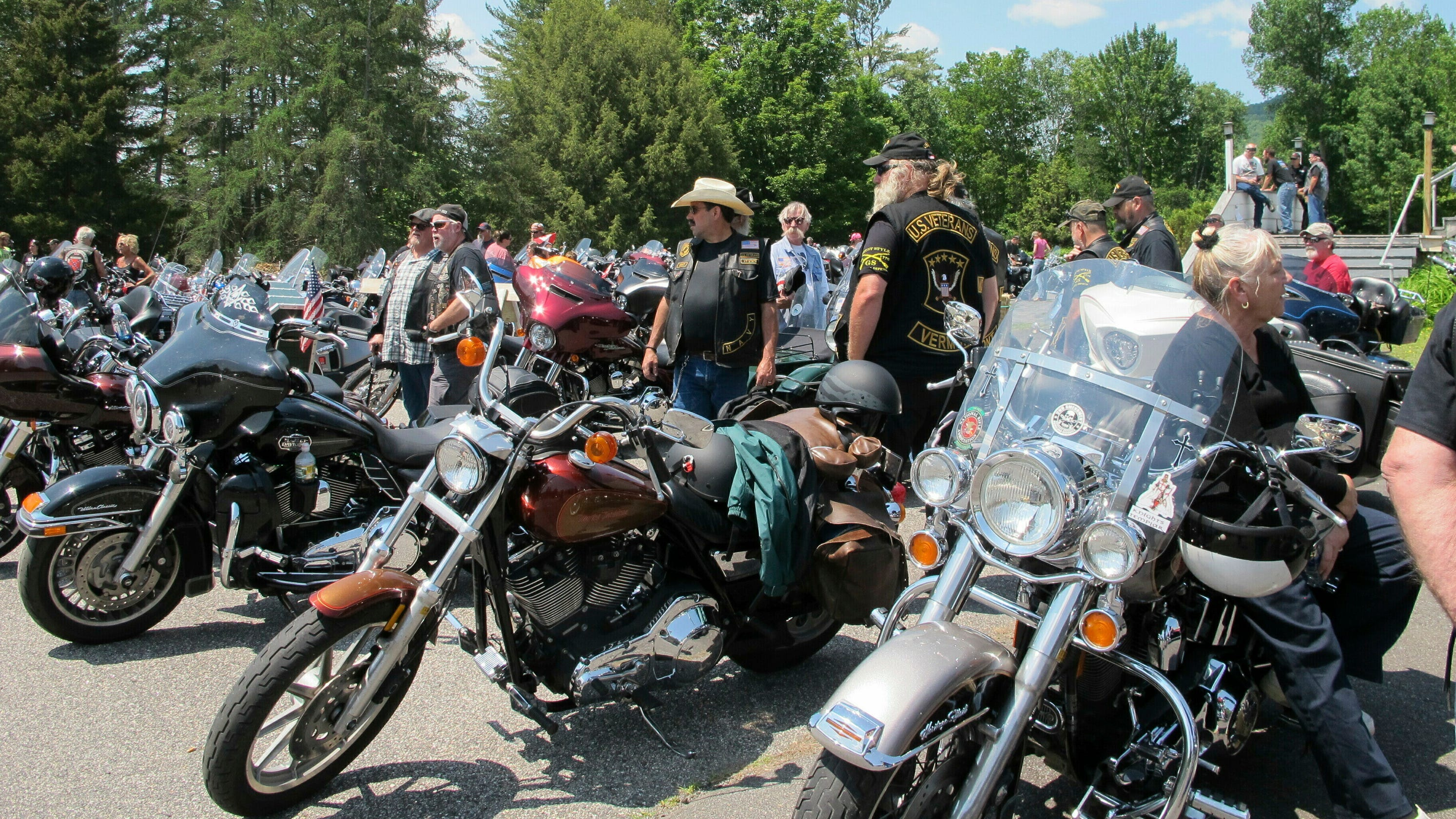 Bikers gather for emotional ceremony following deadly New Hampshire