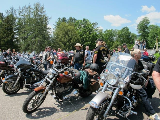 Motorcyclists attend the Blessing of the Bikes ceremony in Columbia, N.H. on Sunday, June 23, 2019.