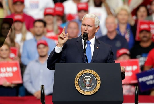 Vice President Mike Pence speaks at a rally  June 18, in Orlando, Fla. On Wednesday, the vice president will be speaking to members of the Detroit Economic Club.
