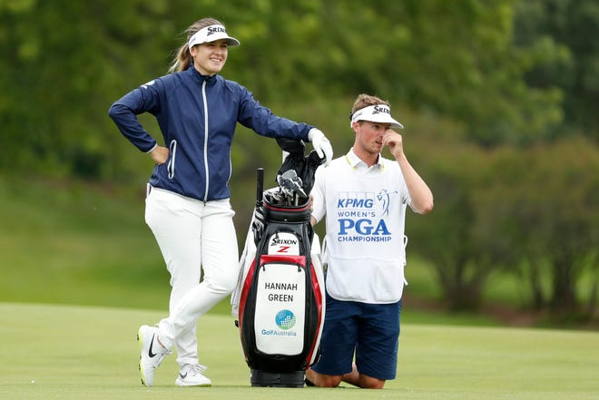 Hannah Green waits to hit on the third fairway during the third round of the Women's PGA Championship.