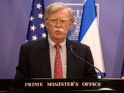 U.S. National Security Adviser John Bolton gives statements to the media in Jerusalem, Sunday.