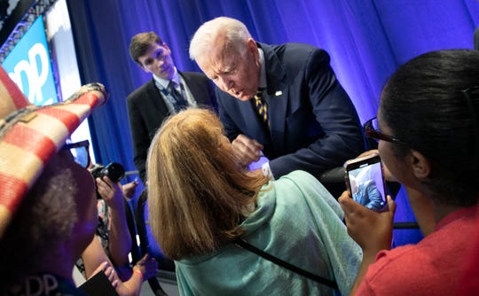 Former Vice President Joe Biden greets supporters during the South Carolina Democratic Convention in Columbia, S.C.