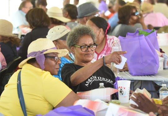Janet Saddler, 61, plays bingo with friends during the Wayne County Senior Services Senior Funfest in Wyandotte on Saturday, June 22, 2019.