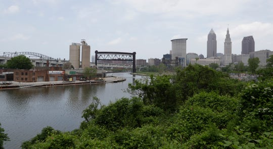 The Cuyahoga River winds it way toward Cleveland, Tuesday, May 28, 2019.