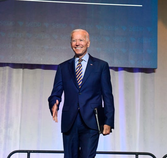 Former Vice President Joe Biden arrives on stage at the South Carolina Democratic Party convention on June 22 in Columbia. (AP Photo/Meg Kinnard)