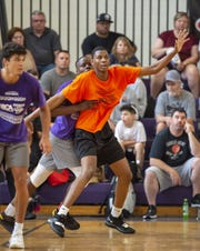 Jalen Washington, Gary West High School, battles for position. The state's top high school basketball players participated in the 17th annual IBCA/IHSAA Underclass Showcase, Saturday, June 22, 2019, at Ben Davis High School.