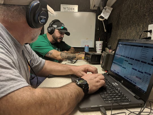Derek Meche (left), vice president of the Acadiana Amateur Radio Association, and AARA President Chris Ancelet (right) attempt to contact different stations around the world via ham radio during Ham Radio Field Day Saturday, June 22, 2019, in Church Point.
