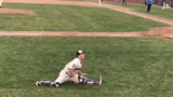 Kenosha Kingfish catcher Brian Vance  dances at Sunday's game at Simmons Field. A video of Vance dancing in the bullpen during a recent game went viral.