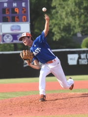 Viola's Dalton Roork pitches on Friday during the AHSCA All-Star games in Conway.