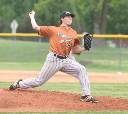 Lockeroom's Tyler Guffey pitches during a recent game at Cooper Park.