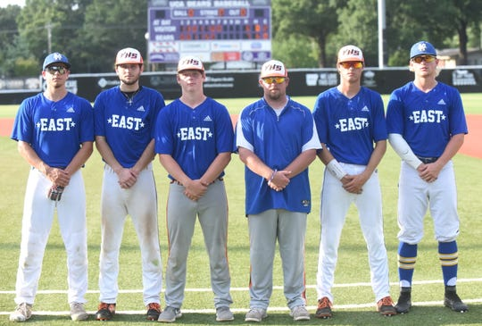 The East team was loaded with Twin Lakes Area talent on Friday night at the AHSCA All-Star baseball games in Conway. Pictured are, from left, Mountain Home's Asa Smith, Viola's Will Wilson, Viola's Brandon Martin, Viola coach Clayton Gardner, Viola's Dalton Roork, and Mountain Home's Luke Dibble.