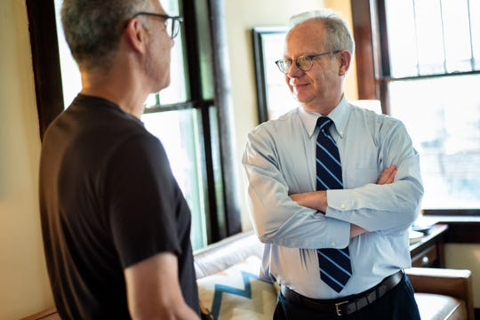 Nashville Mayor David Briley greets guests at a house party fundraiser in Nashville, Tenn., Sunday, June 23, 2019.
