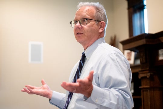 Nashville Mayor David Briley answers questions during a Q and A session at a house party fundraiser in Nashville, Tenn., Sunday, June 23, 2019.