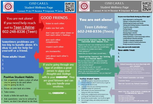 This student wellness page will be handed out to students in 5th and 6th grade (left) and 7th through 12th grade (right).