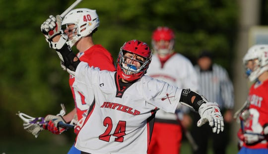 2015 file photo: Penfield's Kevin Wall celebrates his goal against Fairport in a 8-7 overtime win.