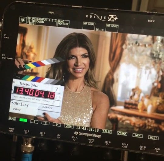 "Teresa Giudice during an interview with Taylor Lucy on the set of ""The Real Housewives of New Jersey."" Courtesy of Taylor Lucy."