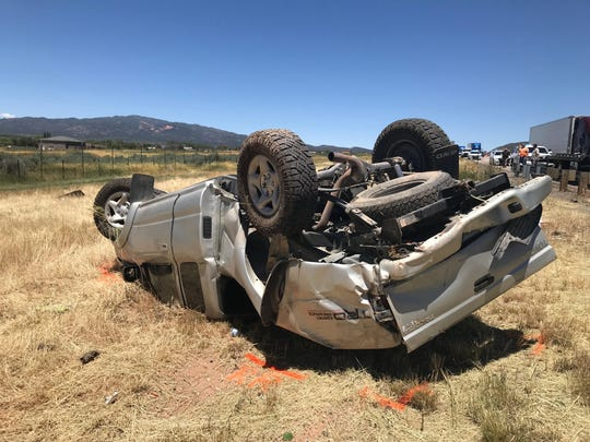 A 56-year-old woman from Hurricane was killed Saturday when she was ejected from her pickup truck in a rollover accident on Interstate 15.