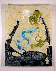 Valerie Goodwin, Cartographic Collage IV, First Place award winner at the 31st Art in Gadsden exhibition.