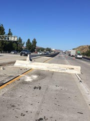 An accident on Highway 101 near Moorpark Road moved K-rail in the center divider and slowed southbound traffic heading into Thousands Oaks Saturday.