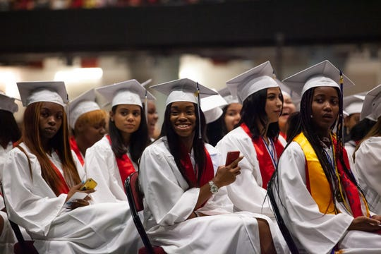 Roosevelt School Class of 2019 graduates celebrate their commencement ceremony at the Westchester County Center in White Plains, June 23, 2019.