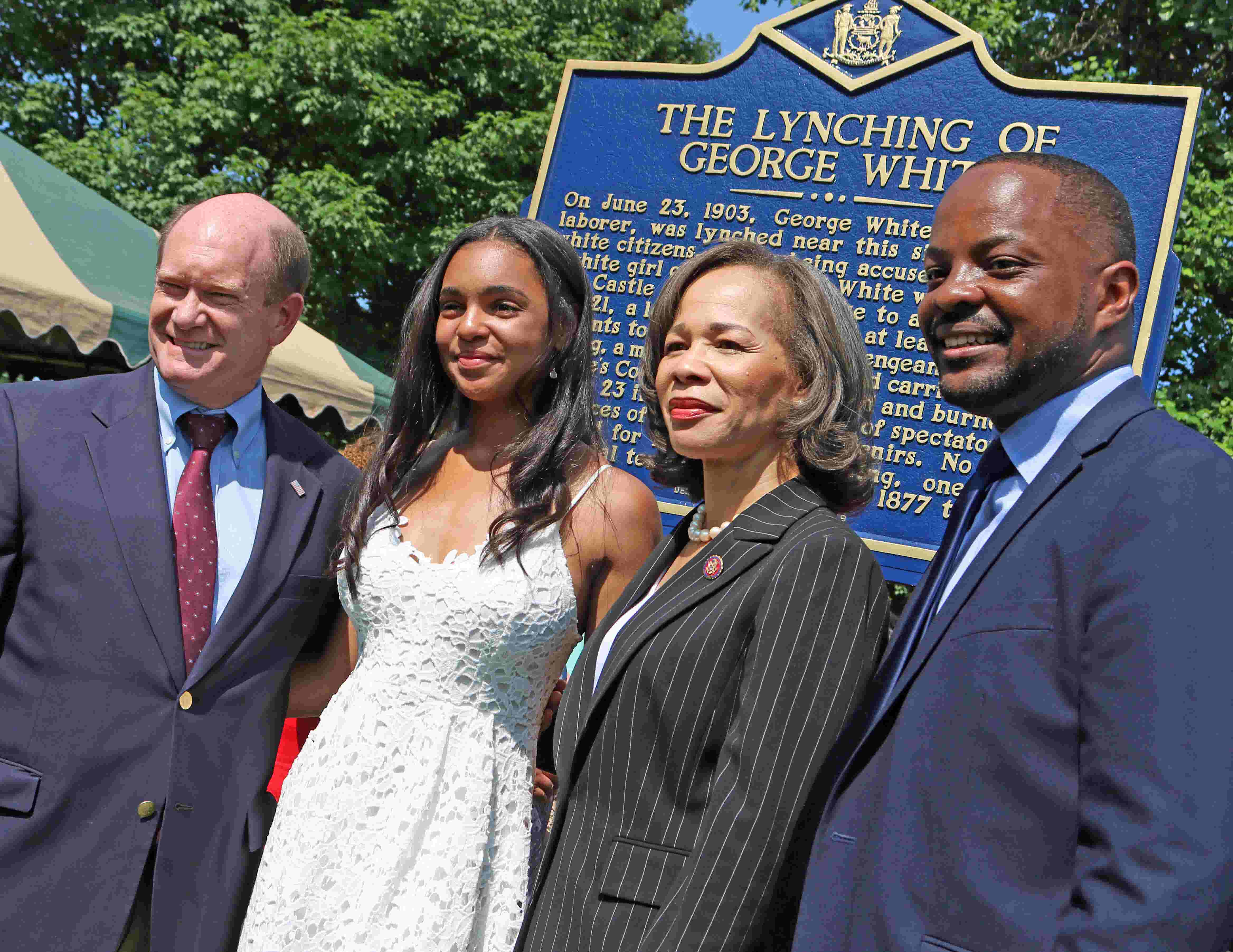 Historical marker commemorating the only documented lynching in Delaware is unveiled