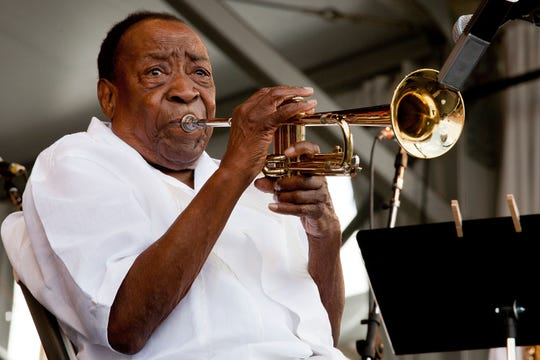 Dave Bartholomew performs at the 2011 New Orleans Jazz & Heritage Festival presented by Shell at the Fair Grounds Race Course on May 1, 2011 in New Orleans, Louisiana.