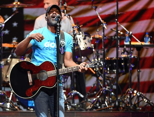 Frontman Darius Rucker of Hootie & the Blowfish performs during a stop of the Group Therapy Tour at T-Mobile Arena in Las Vegas.