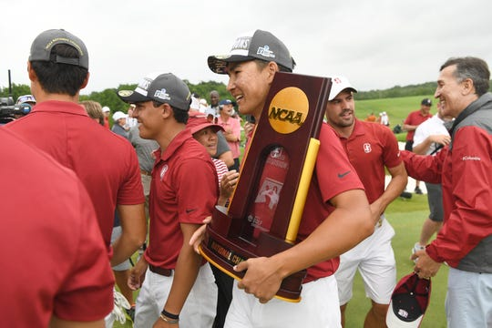 Isaiah Salinda and his Stanford teammates celebrate winning the NCAA men's college golf tournament in May. Stanford and 22 other California schools could be prohibited from participating in NCAA championships if the state passes a bill addressing name, image or likeness.
