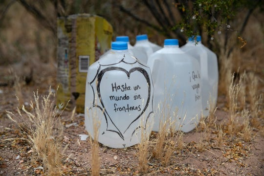 Jugs of water for undocumented immigrants on May 10, 2019, near Ajo, Arizona.