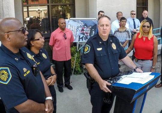 Chief Jim Stewart, Anderson police, talks Monday about the fatal shooting of Ja'Naiya Scott, an 11-year old girl at a home on West End Avenue in Anderson early Sunday morning. He also spoke about recent shootings in the Anderson area, and the confiscation of drugs, guns, and money, during a press conference outside City Hall in Anderson Monday, June 24, 2019.