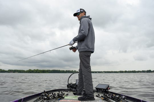 Professional angler Josh Bertrand of Queen Creek, Arizona, fishes for bass on Lake Winnebago during a practice run Monday. The eighth stage of the Major League Fishing Bass Pro Tour begins Tuesday.