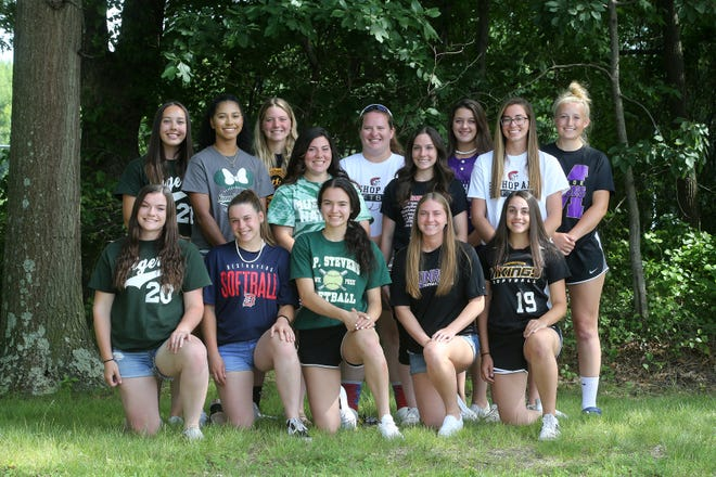 Bottom (from left to right): South Plainfield's Danielle DeCarlo; Dunellen's Elizabeth Renavitz; J.P. Stevens' Emily Tavares; Monroe's Marion Fopeano; South Brunswick's Jessica Stadler. Back row (from left to right): South Plainfield's Jillian Holoboski; J.F. Kennedy's Jillian Sims; South Brunswick's Lindsey Warick; J.F. Kennedy's Jenny Gordon; Bishop Ahr's Megan Herka; Bishop Ahr's Colleen Cronin; Old Bridge's Paige Nugent; Bishop Ahr's Alyssa DeJianne; Monroe's Sarah Stepnowski.