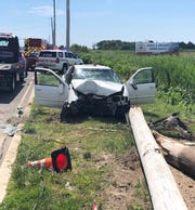 A 23-year-old Little Egg Harbor woman was seriously injured in a single-car crash in Stafford June 24.