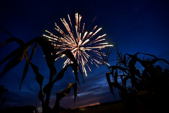 Corn stalks are silhouetted by the evening sky as a firework explodes overhead Saturday during Boombah. The fireworks show was the 25th year the Smith family said they have held it, charging no admission and using fireworks available for purchase at their stand.