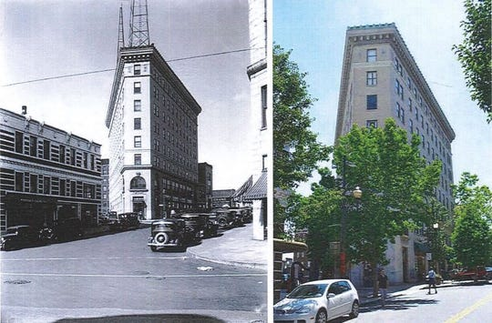 A historic and modern view of Asheville's downtown Flatiron Building. In a controversial move, plans have advanced to turn the building into a hotel, displacing local businesses.