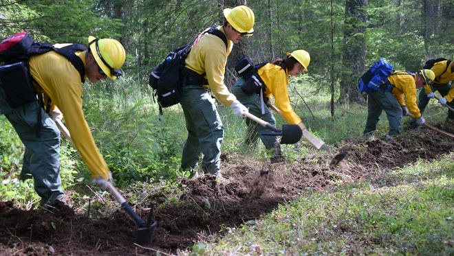 Firefighters practice digging lines at the Western Washington Interagency Wildfire Training Academy, The academy was held in late June.