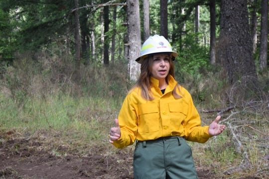 Commissioner of Public Lands Hilary Franz speaks to the first-year wildland firefighters at the Western Washington Interagency Wildfire Training Academy in late June.