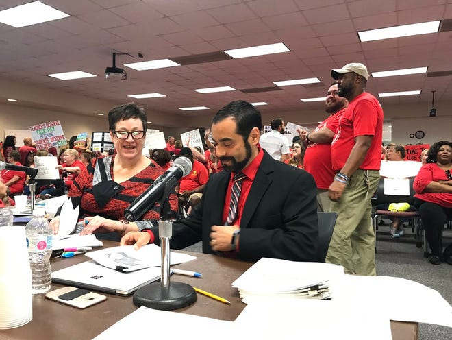 Brevard Federation of Teachers president Anthony Colucci at a June 24 hearing, in which the school board approved the school district's teacher pay proposal over the union-backed plan.